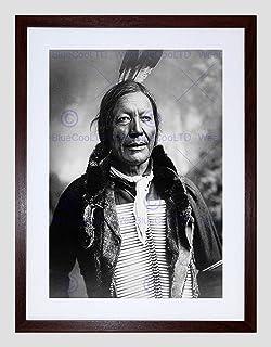 Vintage B&W Indian Fire Lightning Native First Nation Framed Art Print