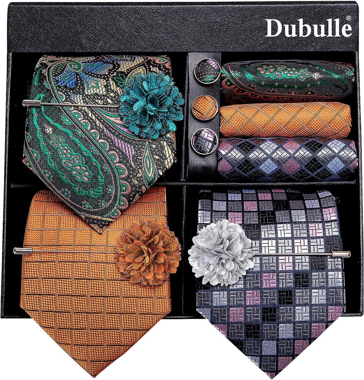 Dubulle Lot 3 PCS Classic El Paso Mall Men's Tie Silk Neck Set Max 41% OFF Stripe Paisley