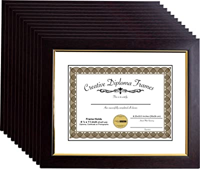 CreativePF [mhg024] 11x14-inch Matted Eco Mahogany Diploma Frame Gold Lip with White/Black Core Mat Holds 8.5x11-inch Media, with Installed Hangers (12-Pack)