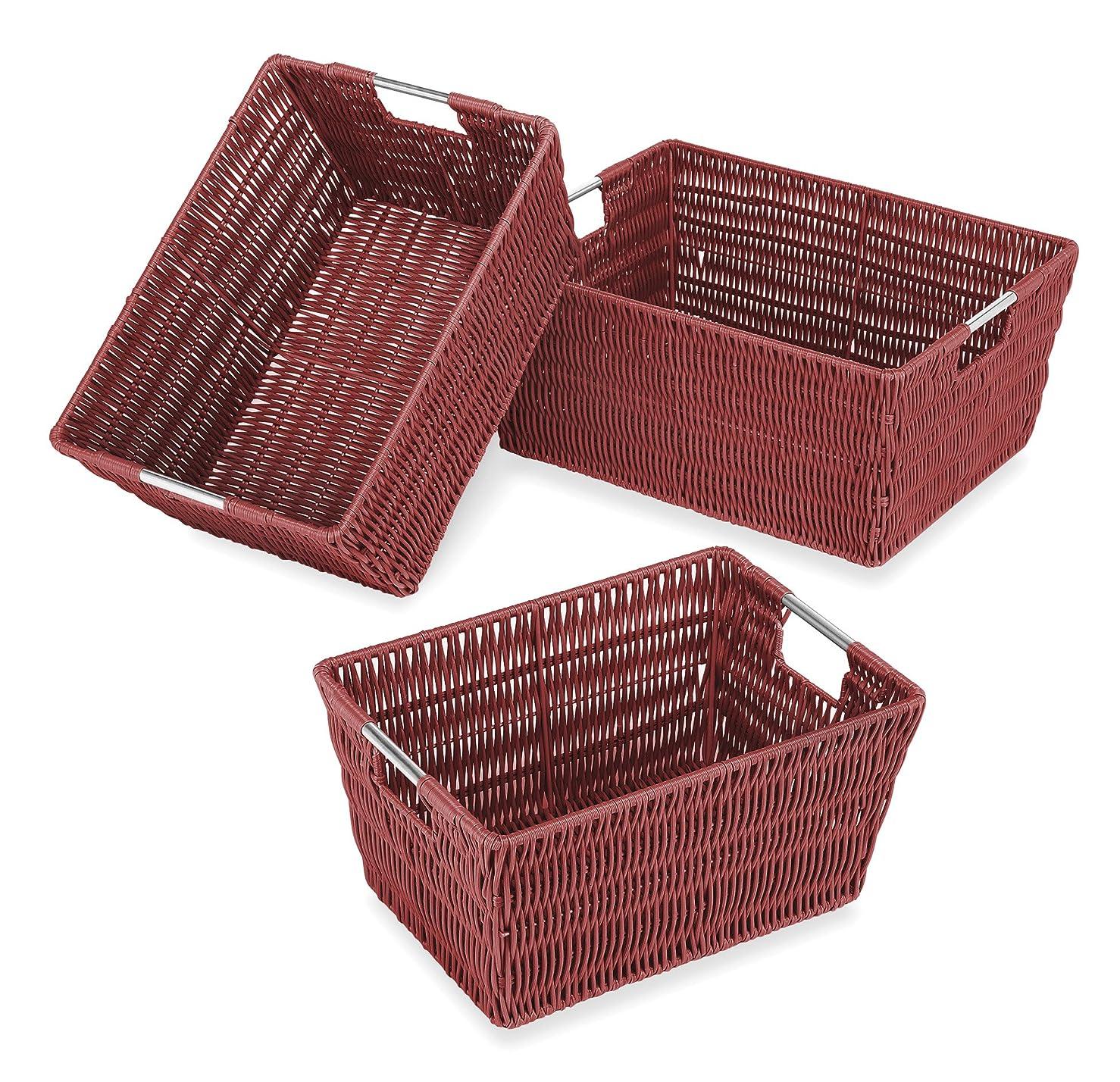 マディソン電極不幸Whitmor 6500-1959 Rattique Storage Baskets, Red, Set of 3 by Whitmor [並行輸入品]