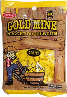 Espeez (1) Bag Gold Mine Giant Nugget Yellow Bubble Gum - Original Fruity Taste - Gluten & Nut Free - 3.5 oz