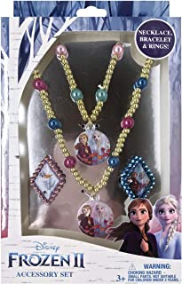 Luv Her Frozen 2 Girls 4 Piece Princess Toy Jewelry Box Set with Gold Rings, Bead Bracelet and Bead Necklace