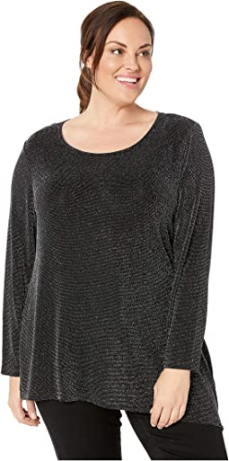 Plus Size Long Sleeve Asymmetric Metallic Top