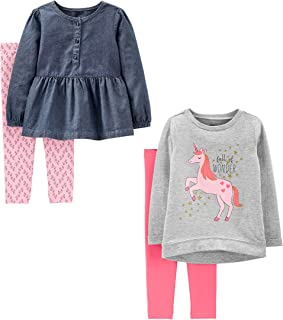 Baby and Toddler Girls' 4-Piece Long-Sleeve Shirts and...