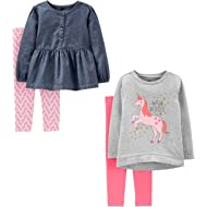 Baby and Toddler Girls' 4-Piece Long-Sleeve Shirts and Pants Playwear Set