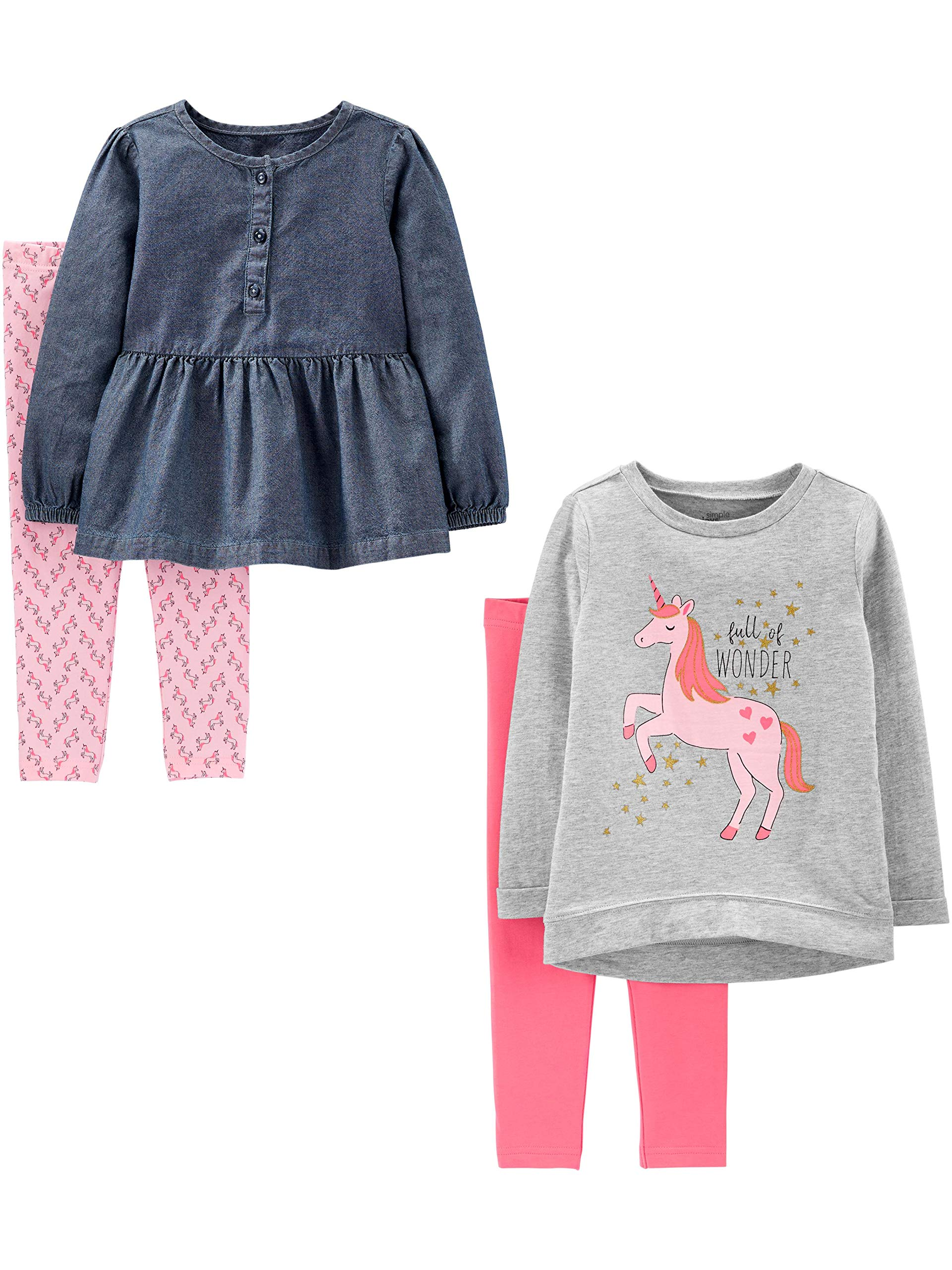 Simple Joys by Carters Girls 4-Piece Long-Sleeve Shirts and Pants Playwear Set