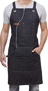 ARAWAK BRAVE Denim Apron for Chef Kitchen BBQ Grill Black Towel Loop + Quick Release Buckle + Tool Pockets Adjustable M to XXL