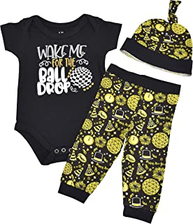 Unisex Wake for The Ball Drop New Years Outfit Layette Set