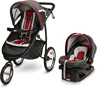 Graco FastAction Fold Jogger Travel System | Includes the FastAction Fold Jogging Stroller and SnugRide 35 Infant Car Seat, Chili Red