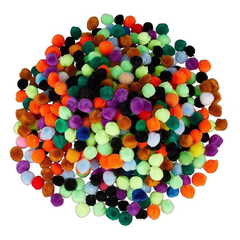Relaxdays Small Crafting Poms, Set of 500 Mini Pompom, Decorative Balls for Birthdays & Weddings, Colourful, D: 1.3 cm