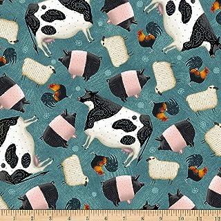 QT Fabrics Digital Down On The Farm Tossed Farm Animals Teal Fabric by the Yard
