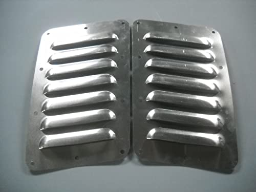 "RodLouvers Pair of Angled Aluminum 5"" 7 Louver Hood Panels (Bolt-On) Kit"