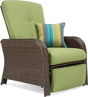 La-Z-Boy Outdoor Sawyer Resin Wicker Patio Furniture Recliner (Cilantro Green) with All Weather Sunbrella Cushions