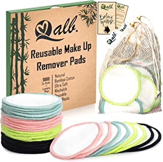 Qalb Reusable Cotton Rounds (24 Pads) | Organic Makeup Remover Pad and Deep Cleansing Facial Wipes | Extra Soft Washable C...