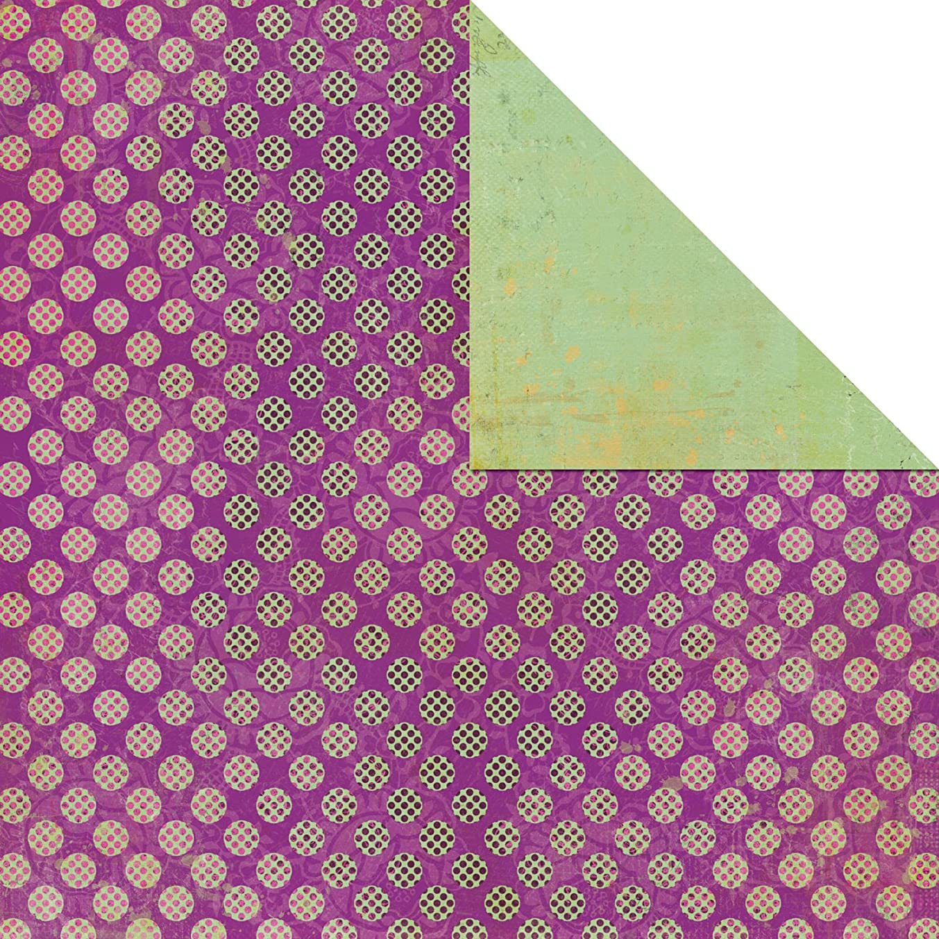 Prima 910013 12 by 12-Inch Life In Colors Double Sided Cardstock Paper, Pink Dots, 25-Pack