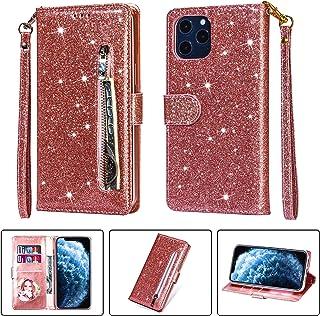 iPhone 12 Pro Max Case, TechCode Bling Glitter PU Leather Handbag Funda con soporte abatible con ranuras para tarjetas Fun...