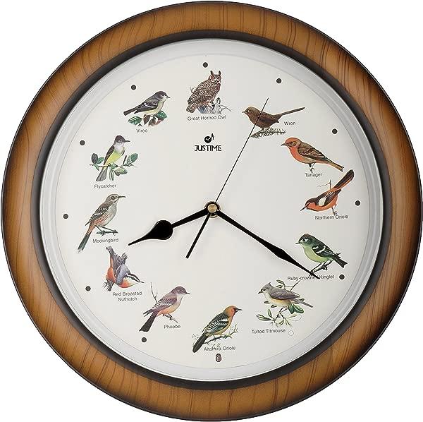 JUSTIME 可爱收藏 14 英寸播放 12 首流行北美鸟 S 歌挂钟壁炉架时钟家用装饰多色 TCBD064 木纹