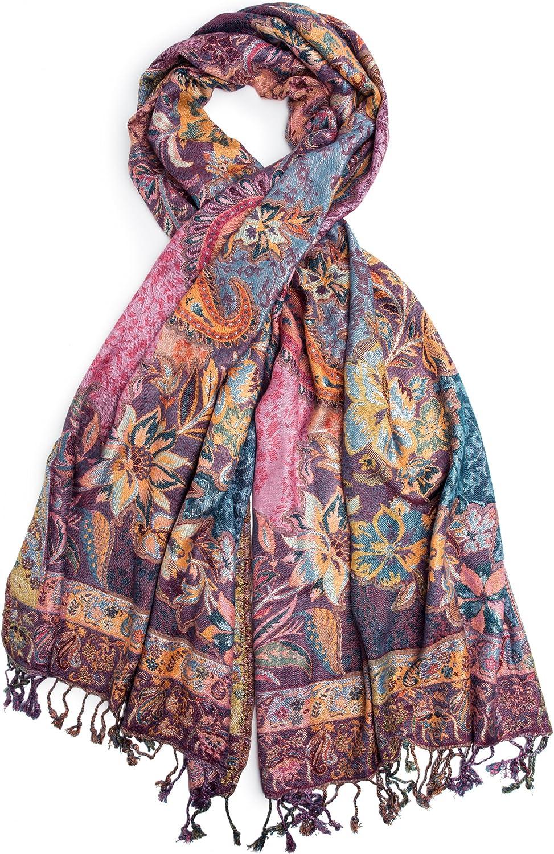 Bohomonde, Bethshaya Cashmere Silk Pashmina Shawl Scarf, Indian Floral Paisley Hand Made in Nepal