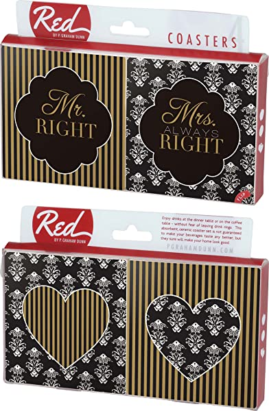 Mr Right Mrs Always Right Damask Striped 4 Piece Absorbent Ceramic Coaster Set