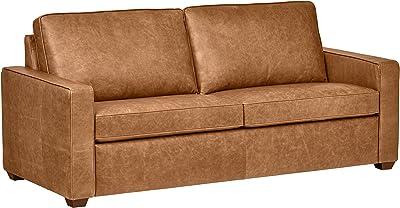 "Amazon Brand – Rivet Andrews Contemporary Top-Grain Leather Sofa, 82""W, Cognac"