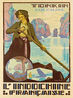 A SLICE IN TIME North Vietnam Tonkin Baie D' Along Tongkin Red River Delta L' Indochine Francaise Vietnamese Asia Asian Vintage Travel Advertisement Art Poster Print. Measures 10 x 13.5 inches