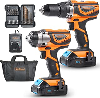 VonHaus MAX 20V Cordless Hammer Drill and Impact Driver Combo Kit with 2x Lithium-Ion 1.5Ah Batteries, Charger Kit and 21pc Accessories