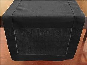 CleverDelights Black Linen Hemstitched Table Runner - 16 x 72 - 100% Pure Linen