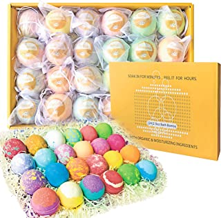 Aromatherapy Party Favors Bath Bombs Gift Set. 24 Individually Wrapped Natural Handmade Lush Spa Bath Ball Fizzers. Dry Skin Moisturize bathbombs. Best Gift Ideas for Women, Mom, Teens, Girlfriend