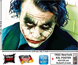 Mural – Joker Mural Decoration – Heath Ledger Batman The Dark Knight Clowns Movie Gotham Villain DC Comic DC Universe Wallposter Photoposter (82.7 x 55 Inch / 210 x 140 cm)
