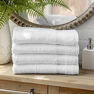 Welhome 100% Cotton Towel (White)- Set of 4 Bath Towels - Quick Dry - Absorbent - Soft - Ideal for Daily Use - 434 GSM - M...