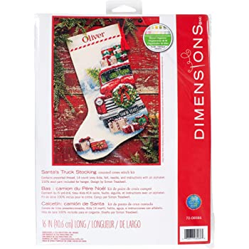 Dimensions Santas Truck Stocking Counted Cross Stitch Kit 16 Long