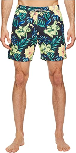 Medium Length Swim Shorts in Cotton/Nylon Quality with All Over