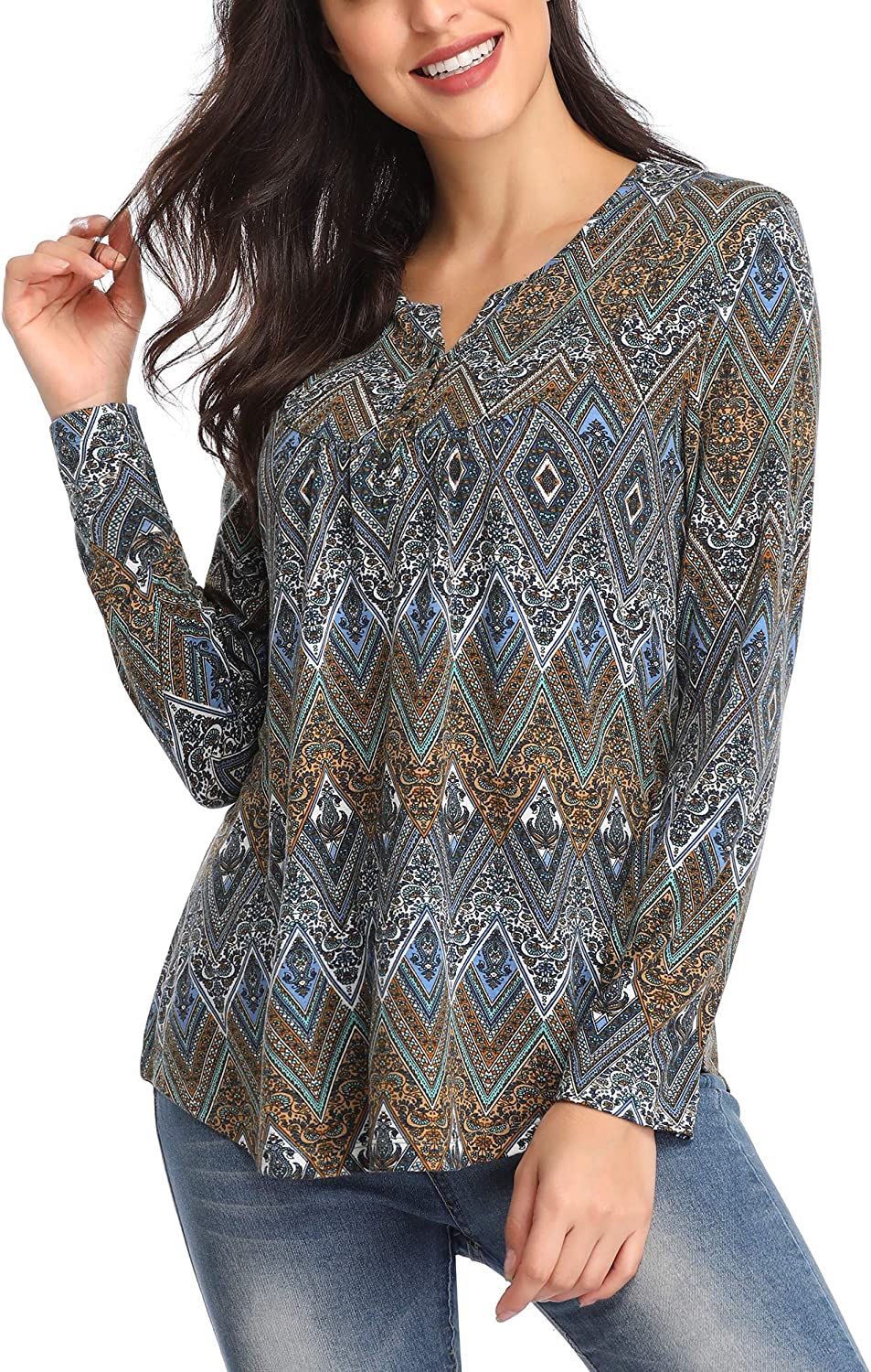 Urban CoCo Women's Long Sleeve Foral Printed V Neck Pleated Casual Flare Tunic Blouse Shirt