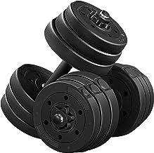 Yaheetech Set van 2 korte halterset van 20 kg met oppervlak van kunststof gietijzer halterset gewichten 4 x 2 kg / 4 x 1,5...