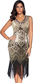 Meilun 1920s Sequined Vintage Dress Beaded Gatsby Flapper Evening Dress Prom