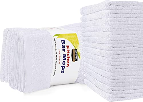 Utopia Towels Kitchen Bar Mops Towels, Pack of 12 Towels - 16 x 19 Inches, 100% Cotton Super Absorbent White Bar Towels, Multi-Purpose Cleaning Towels for Home and Kitchen Bars product image