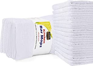 Utopia Towels Kitchen Bar Mops Towels, Pack of 12 Towels - 16 x 19 Inches, 100% Cotton Super Absorbent White Bar Towels, Multi-Purpose Cleaning Towels for Home and Kitchen Bars