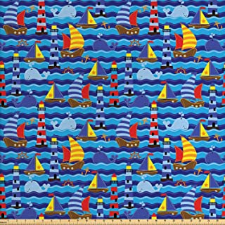 Lunarable Nautical Fabric by The Yard, Nautical Themed Wavy Ocean Boating Yacht Dolphin Compass Lighthouse Fish, Decorative Fabric for Upholstery and Home Accents, 2 Yards, Yellow Blue