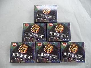 Hem Attracts Money Incense Cones, 6 Packs of 10 Cones = 60 Cones