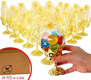 JC HUMMINGBIRD 24pc Fillable Gold Crown Goblet with Pouch for Party Favor, Candies, Table Decoration, Keepsakes, Baby Shower