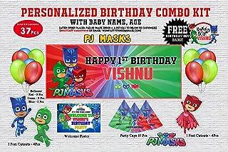 WoW Party Studio Personalized PJ Masks Theme Birthday Party Supplies with Birthday Boy/Girl Name - Combo Kit (37 Pcs)