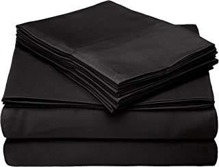 Home Collection Micro Caress Luxurious Sheet Set, 90GSM 4 -Piece Cal King Size with 2 Additional Pillowcase, Black Color