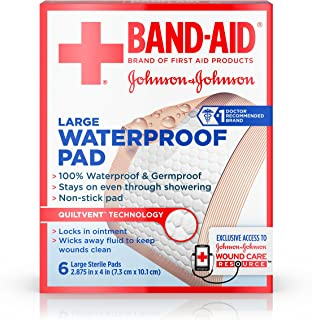 Band Aid Brand First Aid Products Non-Stick Sterile Waterproof Pads, Large 2.9 in x 4 in, 6 ct (Pack of 6)