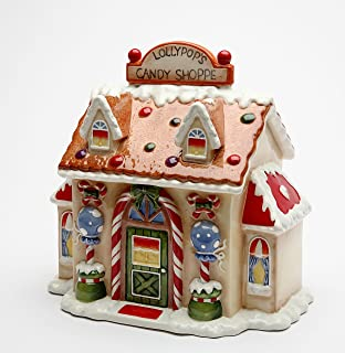 Cosmos 10931 Gifts Ceramic Santa's Village Candy Jar, 8-1/2-Inch