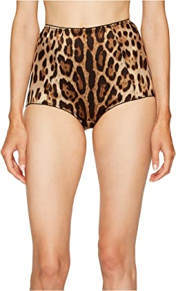 Dolce & Gabbana Stretch Satin Cheetah High Waisted Panty