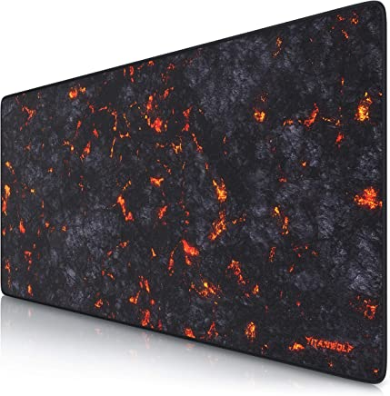 Titanwolf XXL Speed Gaming Mouse Mat | Mouse Pad 900 x 400 x 3mm | XXL mousepad | table mat large size | improved precision and speed | rubber base for stable grip on smooth surfaces | Design Lava