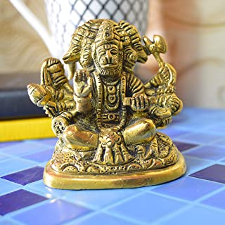 Aakrati Sitting Five face Hanuman Figurine for Office or Home and Worship - Brass Idol Figure