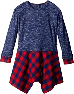 Tommy Hilfiger Kids - Twofer Rib & Yarn-Dye Flannel Dress (Big Kids)