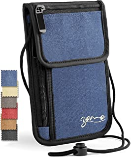Passport Holder- by YOMO. RFID Safe. The Classic Neck Travel Wallet. (Blue-Deluxe)