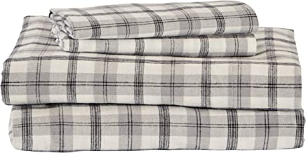Stone & Beam Rustic 100% Cotton Plaid Flannel Bed Sheet Set, Easy Care, Full, Black and White